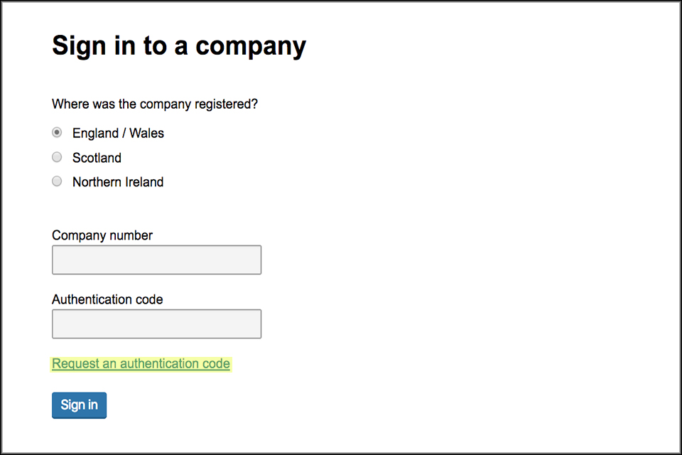 Request a new code through Companies House