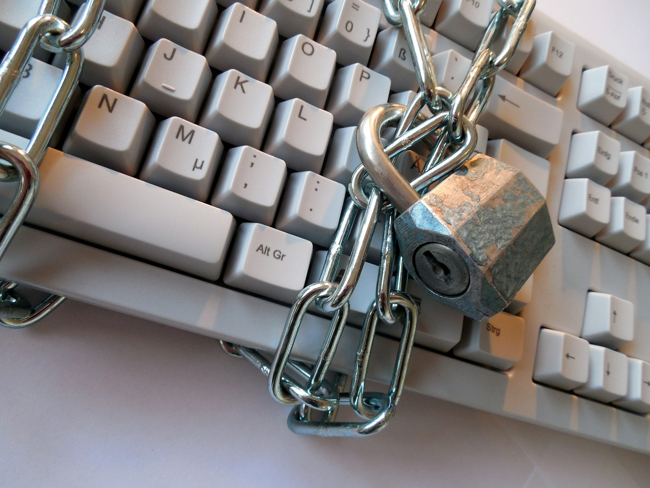 Keyboard with chain and padlock